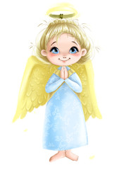 Cute Angel girl with wings praying illustration