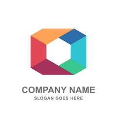 Colorful Geometric Square Box Cube Logo Vector Icon