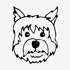 Vector illustration of a hand drawn dog
