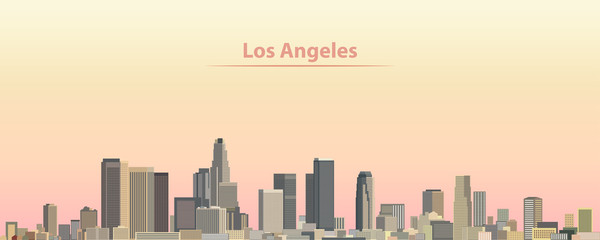 vector illustration of Los Angeles city skyline at sunrise