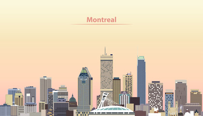 vector illustration of Montreal city skyline at sunrise
