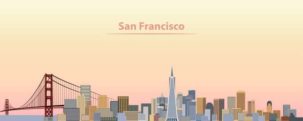 Wall Mural - vector illustration of San Francisco city skyline at sunrise