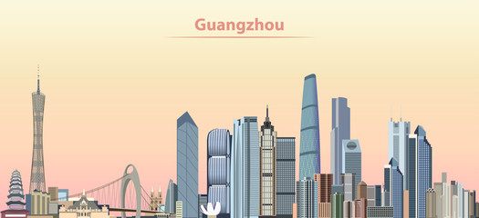 vector illustration of Guangzhou city skyline at sunrise