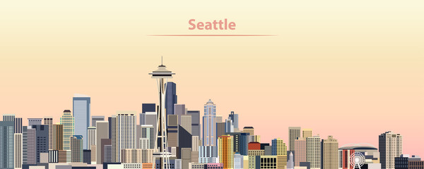 Wall Mural - vector illustration of Seattle city skyline at sunrise