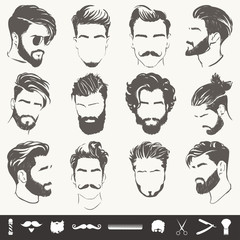 vector set of men hairstyle silhouettes