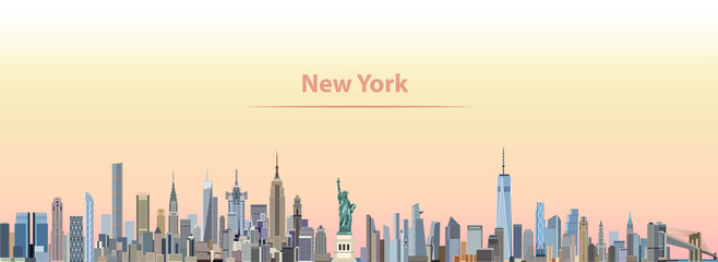 vector illustration of New York city skyline at sunrise