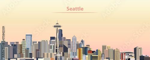 Fototapete vector illustration of Seattle city skyline at sunrise