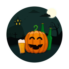 Halloween beer party. Drunk pumpkin with a glass of beer. Vector All Saints' Eve card.