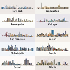 vector collection of United States city skylines