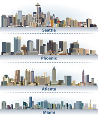 vector collection of United States city skylines: Seattle, Phoenix, Atlanta and Miami