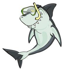 shark, predator, teeth, jaws, fin, fish, cartoon, animal, ocean, gray, wild, zoo, sport, diving, mask, tube, snorkel,