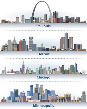 vector abstract illustration of United States city skylines
