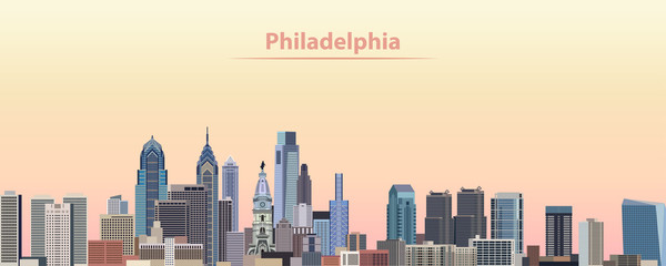 Wall Mural - vector illustration of Philadelphia city skyline at sunrise