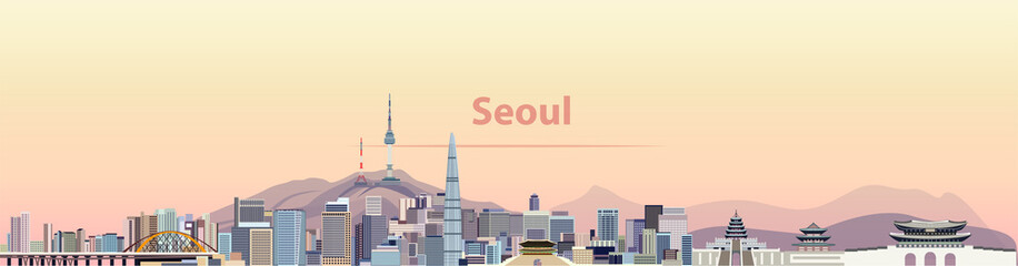 Wall Mural - vector illustration of Seoul city skyline at sunrise