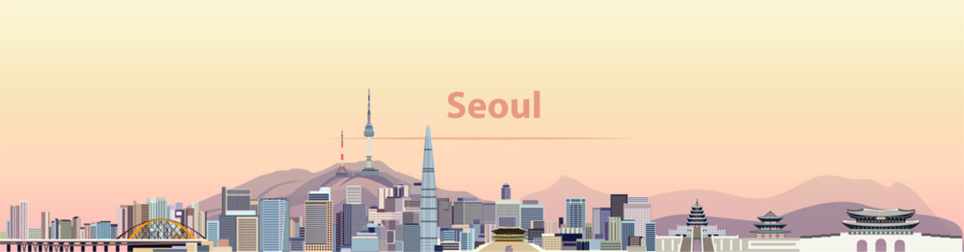 vector illustration of Seoul city skyline at sunrise