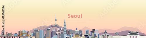 Fototapete vector illustration of Seoul city skyline at sunrise