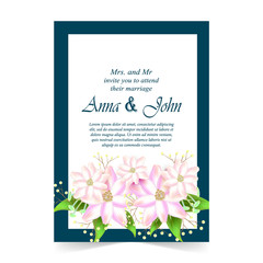 Invitation card, Wedding card with flora background