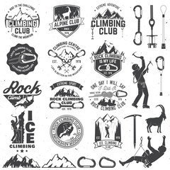 Set of Rock Climbing club badges with design elements