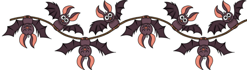 Happy bats on rope seamless