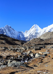 beautiful mountain landscape on the way to everest base camp