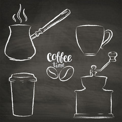 Set of coffee cup, grinder, pot grunge contours. Vintage coffee objects collection on chalk board.