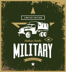 Vintage military truck vector logo isolated on khaki background. American off-road car street wear superior retro tee print design.