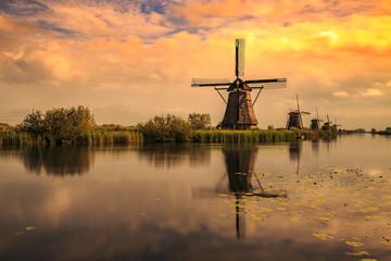 Traditional Dutch Windmills Kinderdijk World Unesco heritage