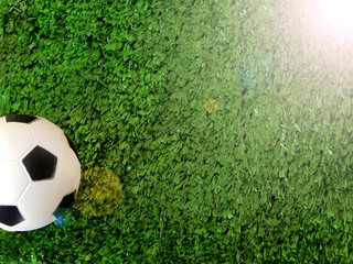 Soccer ball is lying on the green grass. Copy space. Photo with sun ray imitation