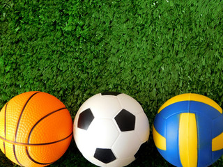 Balls for soccer, basketball and volleyball are lying on the green grass. Different sports concept