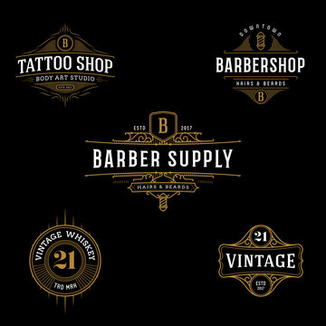 Vector vintage frame for logo, label design. Ornate logo template for tattoo, barber shop, beer, whiskey label.