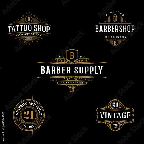 Vector Vintage Frame For Logo Label Design Ornate Template Tattoo Barber