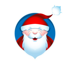Christmas avatar. Portrait of Santa Claus. Vector illustration.