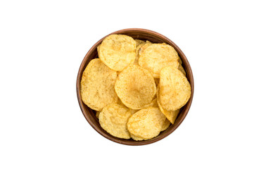 Bowl with potato chips isolated on white. Top view.