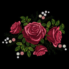 Red rose and white flowers embroidery on black background. Satin stitch imitation, vector.