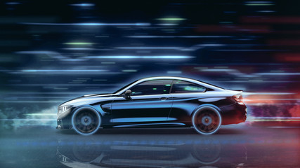 High speed, sports car - futuristic concept (with grunge overlay) - 3d illustration