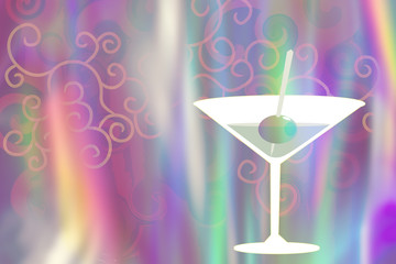 cocktail glass illustration on abstract blurred holographic background. Vivid color blurred shades.
