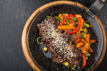Grilled meat with sesame and grilled vegetables
