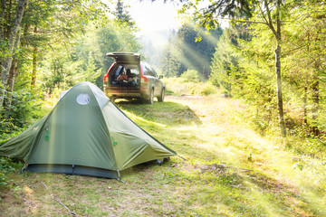Cozy camping with tent and a car