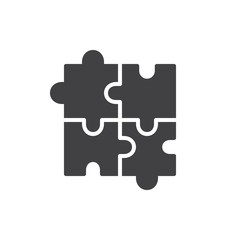 Puzzle icon vector, filled flat sign, solid pictogram isolated on white. Plugins symbol, logo illustration.