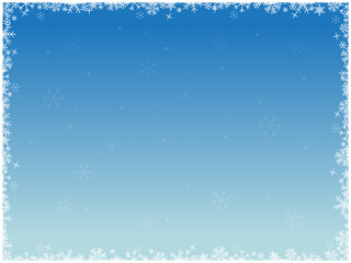 Winter background with white snowflakes in frame