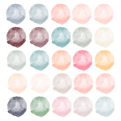 Watercolors  blobs. Set of colorful watercolor hand painted circle isolated on white. Wedding watercolor colors.