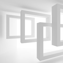 Modern Interior Design. Empty Room with Window Frame. Minimal Abstract Background. 3d Rendering