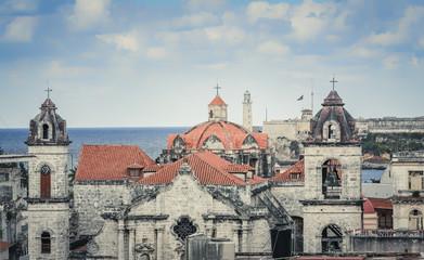 Old Havana buildings with famous landmarks, Cuba