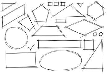 Set of Sketchy 2D Geometrical Shapes