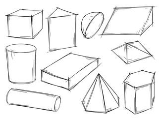 Set of Sketchy 3D Geometrical Shapes