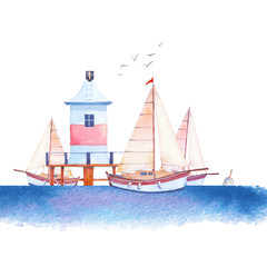 Watercolor nautical illustration. Hand drawn cartoon marine: sailboats, lighthouse dock, sea, seagull. Isolated regatta design on white background.