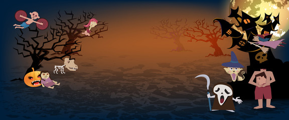 Halloween background,spooky many character of ghost with fullmoon