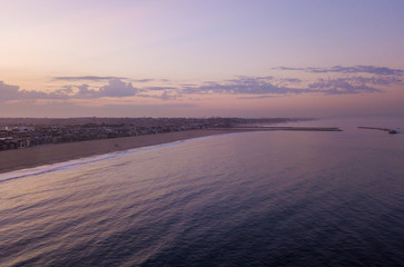 Fresh sunrise morning at the Venice beach in Los Angeles. Aerial view from above. USA