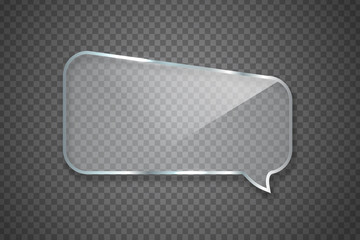 Vector realistic isolated glossy glass speech bubble for decoration and covering on the transparent background.
