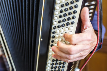 Musician hand playing accordions closeup